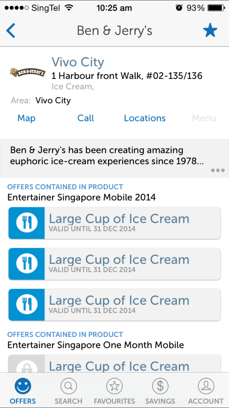 inside entertainer app ben&jerry's