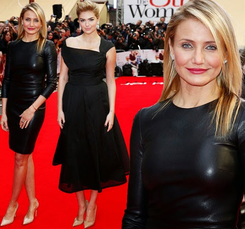 Cameron Diaz trumps Kate Upton at UK premiere of their new film in skintight leather dress