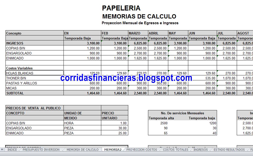 Plantilla en Excel proyecto de papeleria