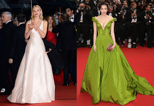 Carey Mulligan in Christian Dior Couture and Zhang Yuqi in Ulyana Sergeenko