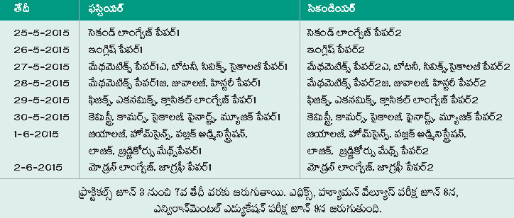 Telangana Second Year Results 2015, AP Advance Supplementary Timetable 2015, Improvement Dates Schedule telangana