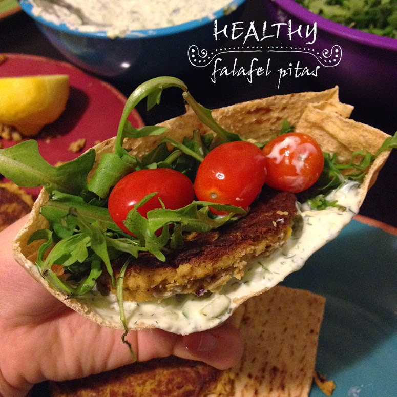 Healthy falafel pitas prefect for Meatless Monday