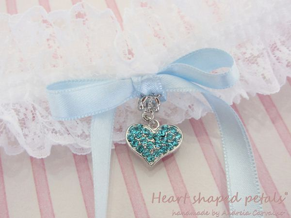 Bridal lace garters blue heart