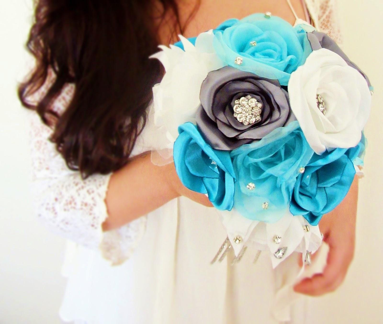 bouquet de noiva azul
