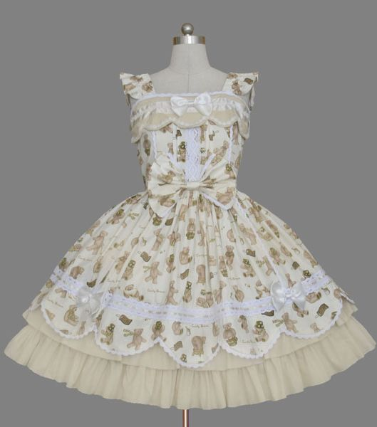 Champagne Printed Cap Sleeves Rococo Lolita Dress