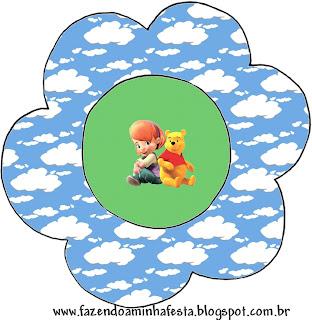 Tarejta con forma de flor para imprimir gratis de Winnie de Pooh y sus amigos.