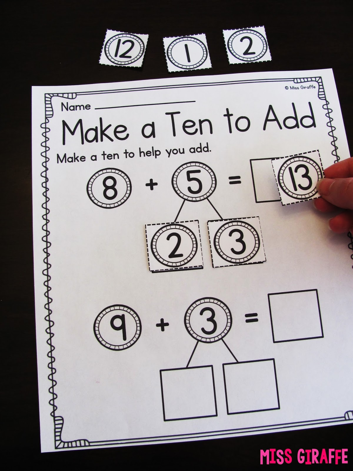 worksheet Ways To Make A Number Worksheet miss giraffes class making a 10 to add