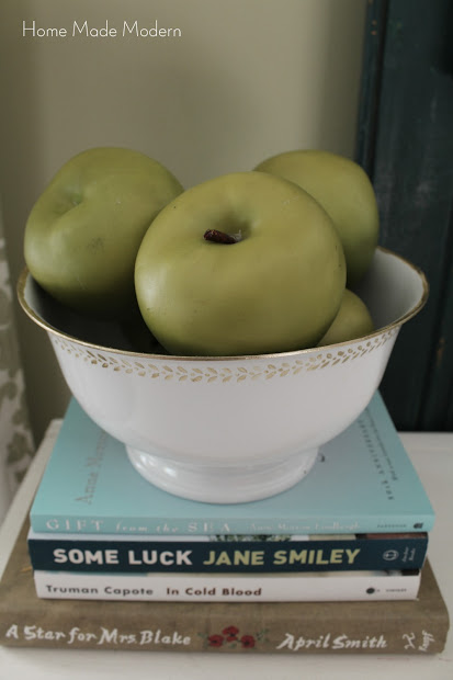 painted bowl with green apples