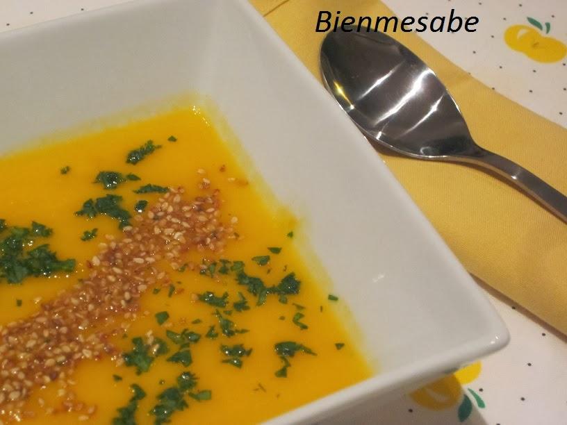 Crema de zanahoria, jengibre y naranja