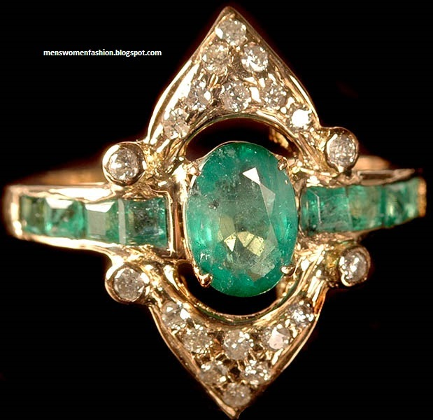 Emerald Indian Wedding Rings 21k Gold Jewellery Collection 53 Fashion Jewellery