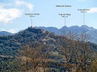 Vista des de Can Pontet del Castell de Torelló i a fons la Serra de Curull