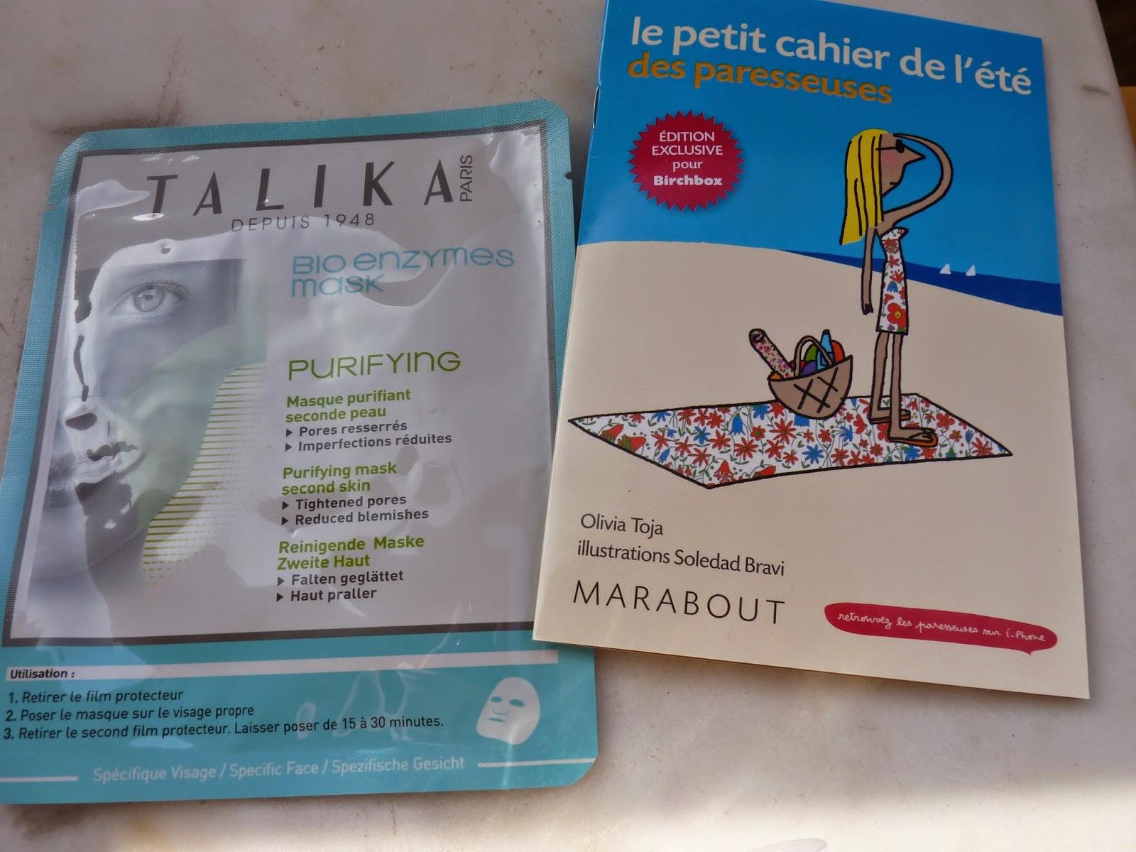 masque en tissus, Talika, les paresseuses, cahier des paresseuses, cahier de l'été des paresseuses, birchbox, juin 2014,