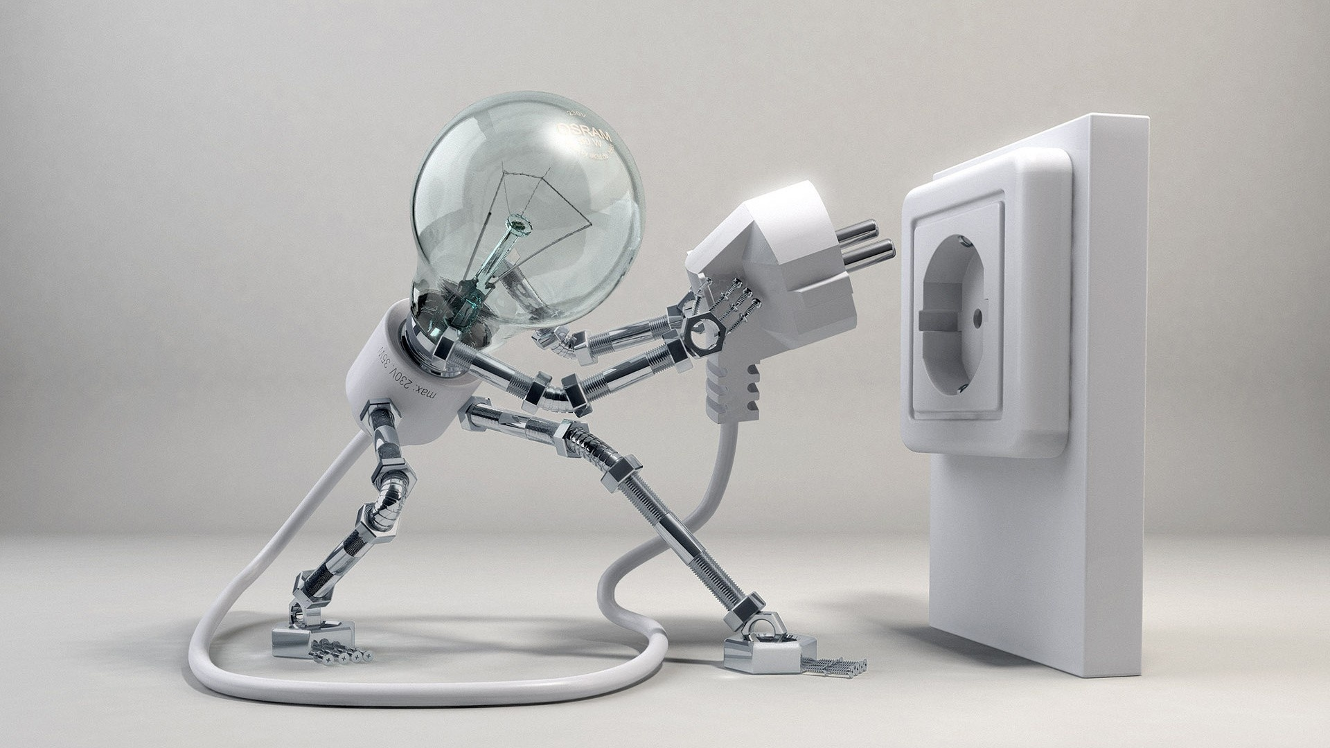 electricity 3d bulb funny artwork 1080