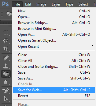 Photoshop Save for Web option
