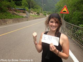 Hitchhiking in Samcheok Korea