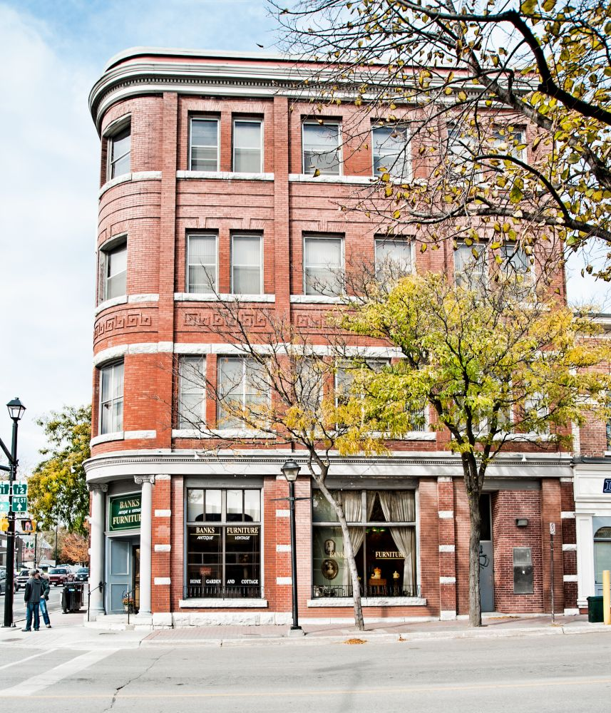 One of the fine old buildings in downtown Orillia, now repurposed for fine vintage furnishings.