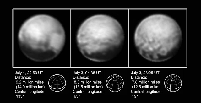 These high-resolution views of Pluto sent by NASA's New Horizons spacecraft include one showing the four mysterious dark spots that have captured the imagination of the world. The Long Range Reconnaissance Imager (LORRI) obtained these three images between July 1-3, 2015.   The left image shows, on the right side of the disk, a large bright area on the hemisphere of Pluto that will be seen close-up by New Horizons on July 14, 2015. The three images together show the full extent of a continuous swath of dark terrain that wraps around much of Pluto's equatorial region. The western end of the swath (right image) breaks up into a series of striking dark regularly-spaced spots, each hundreds of miles in size, which were first detected in New Horizons images taken in late June. Intriguing details are beginning to emerge in the bright material north of the dark region, in particular a series of bright and dark patches that are conspicuous just below the center of the disk in the right image. In all three black-and-white views, the apparent jagged bottom edge of Pluto is the result of image processing. Credit: NASA/Johns Hopkins University Applied Physics Laboratory/Southwest Research Institute