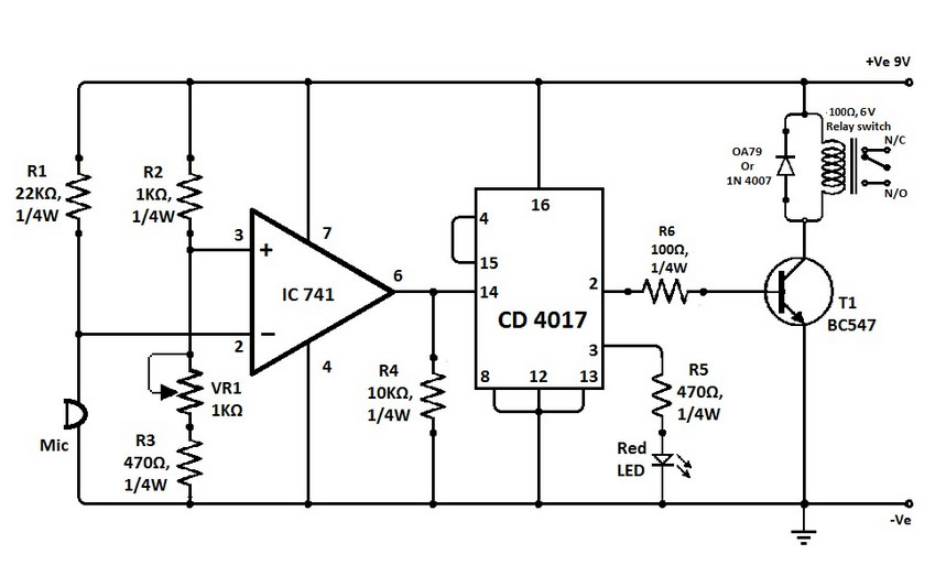 clap switch with ic741 and cd4017