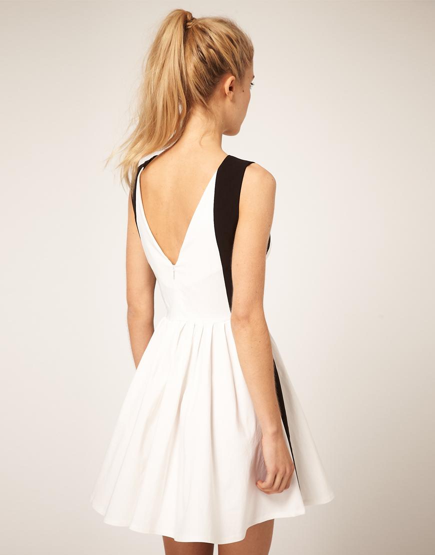 Miss Snowy Shop Asos Skater Black White Dress