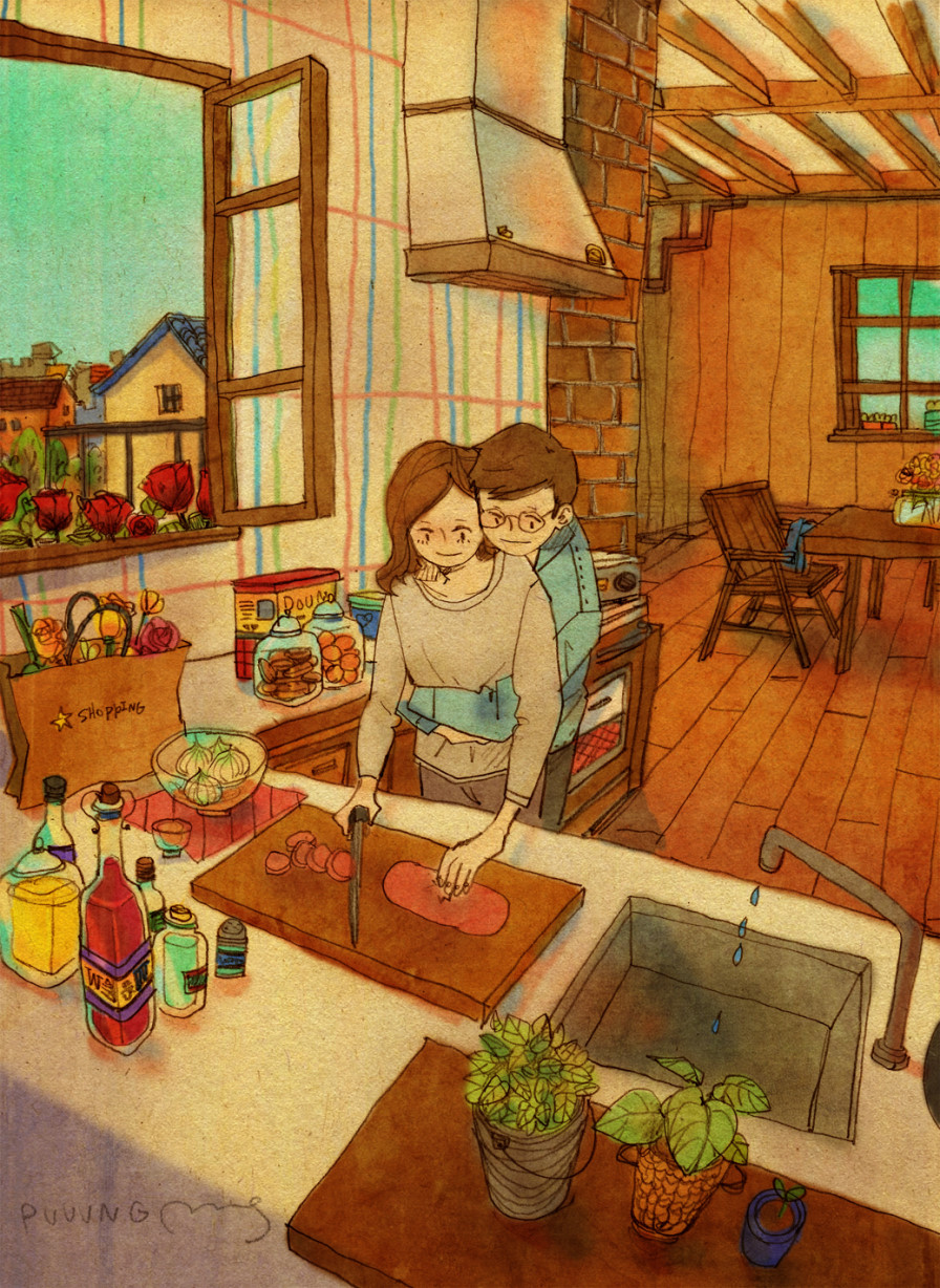 love is hugging her in kitchen - picture