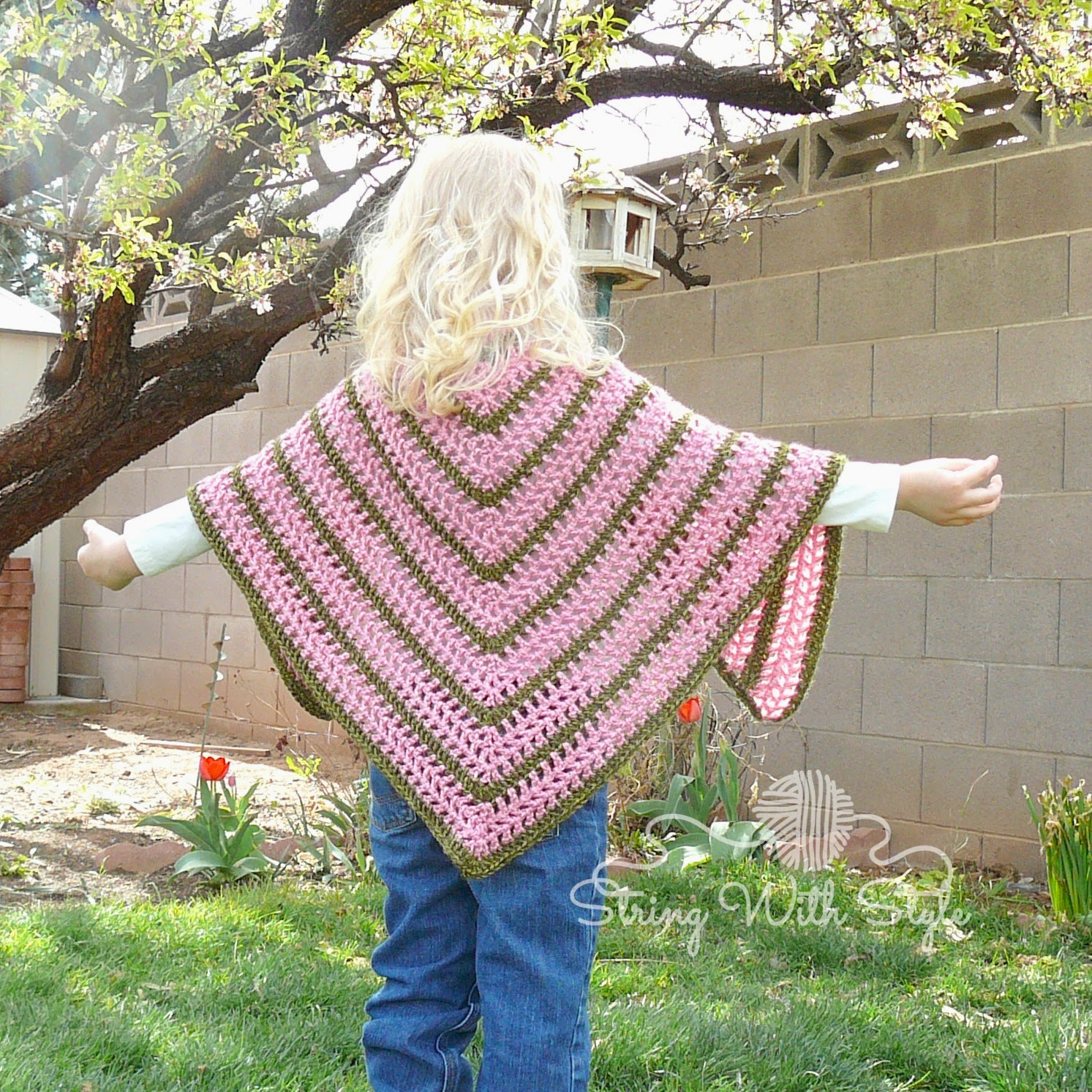 Crochet Pattern For Infant Hat With Ear Flaps : String With Style: Sassy Girl Triangle Shawl