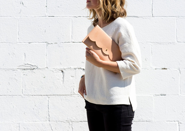 scalloped edge clutch