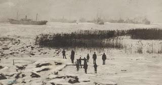 Vastgevroren boten in de Schelde tijdens de winter van 1894-1895