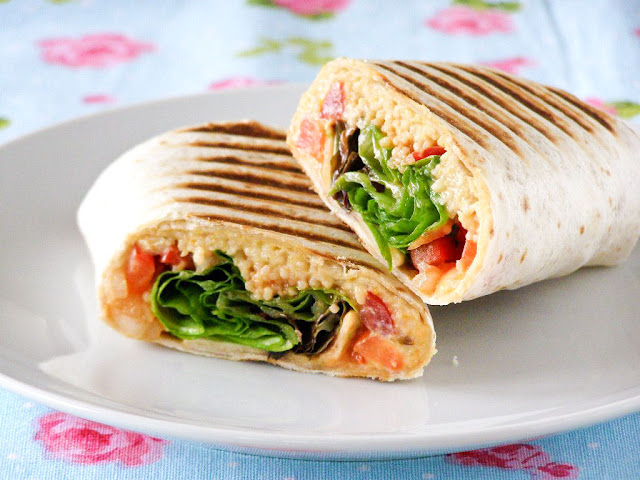 Grilled Couscous Houmous Salad Wrap with Chilli Sauce