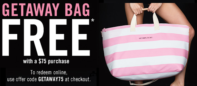 free victorias secret getaway pink stripe bag