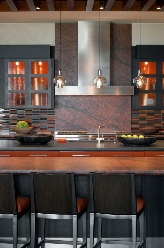 Dark kitchen furniture in modern Dream home in the desert, Paradise Valley