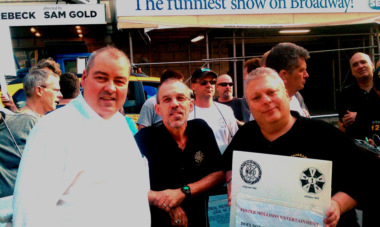 broadcast union news iatse job action at empire new york continues paul dean don mckennan and bob daraio on the picket line