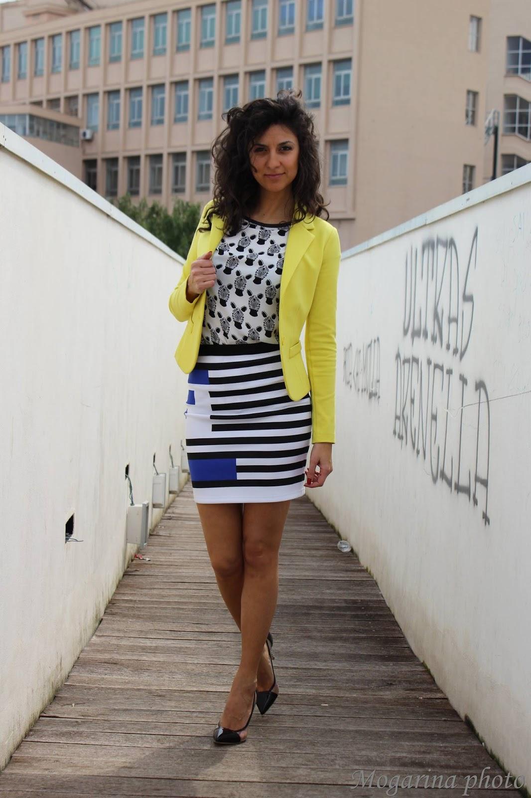 dress, luan, skirt, b&w, black, whyte, striped, righe, fantasia, minigonna, giallo, slim, giacca, pvc, vinile, shoes
