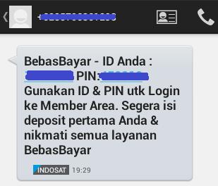 Dapat SMS ID dan PIN BebasBayar