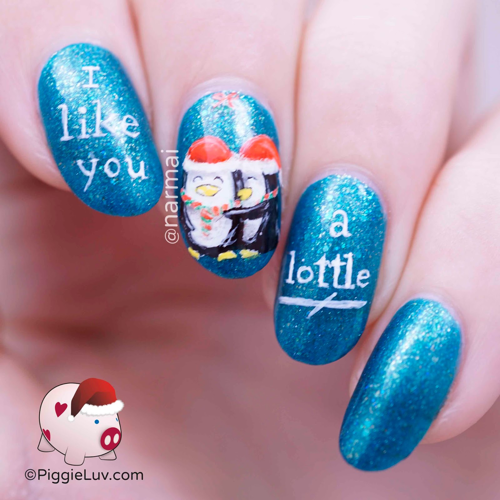 Piggieluv penguins under mistletoe nail art for christmas penguins under mistletoe nail art for christmas prinsesfo Image collections