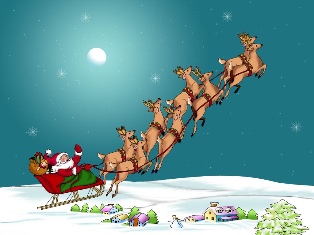 Papá Noel con renos