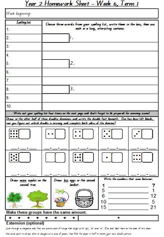 homework sheets for year 3