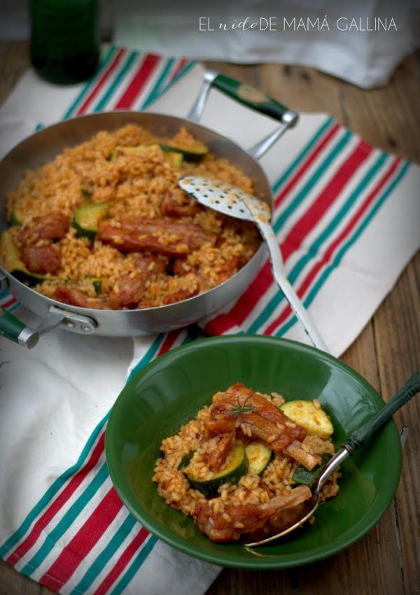 arroz con costilla y calabacín