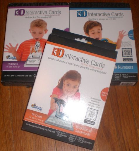 Three types of interactive learning cards.