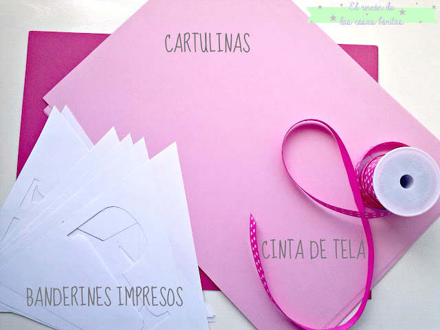 guirnalda cartulina rosa