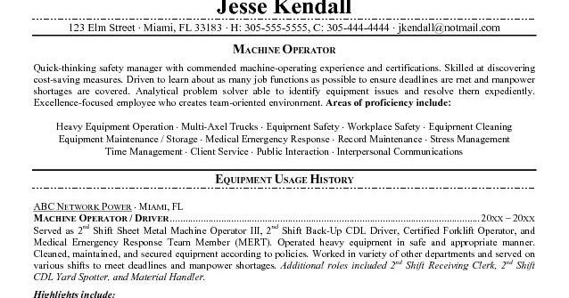 Sample resume forklift driver