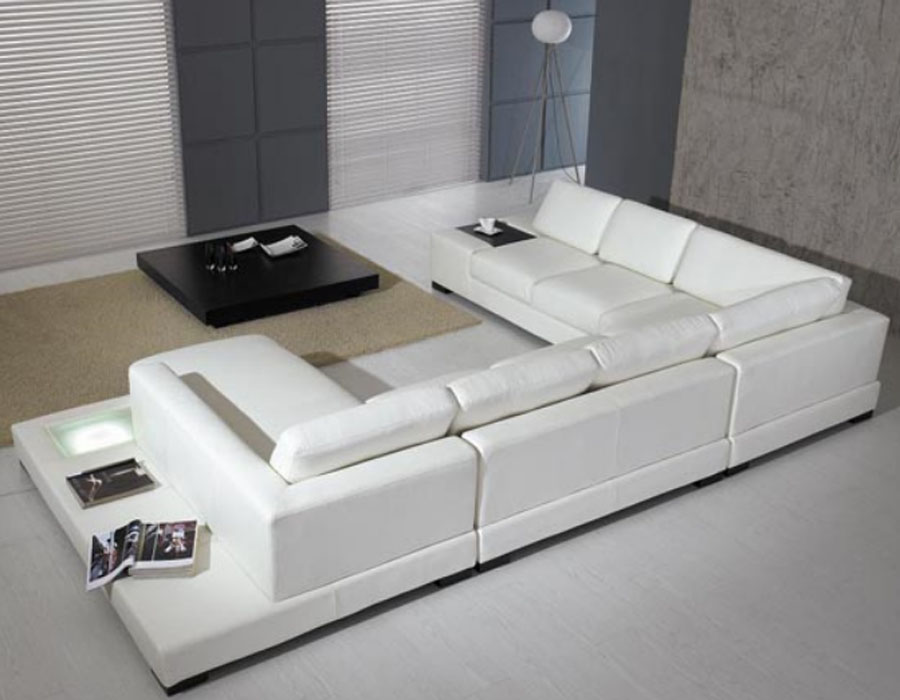 Modern Leather 5 Piece Sectional Sofa In White By Tosh Furniture Noor Furniture