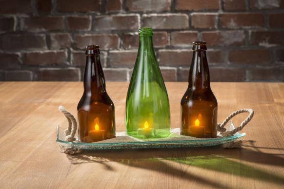 Reclaimed Bottle Candle Centerpiece @craftsavy #kinkajou, #bottlecutter, #craftwarehouse