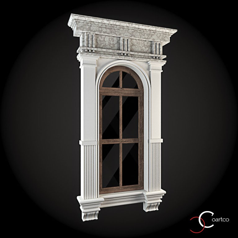 Ornamente Geamuri Exterior, Arcada fatade case cu profile decorative polistiren, profile fatada,  Model Cod: WIN-051