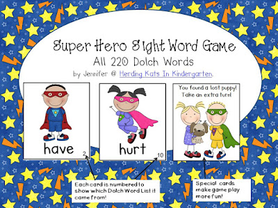 https://www.teacherspayteachers.com/Product/Super-Hero-Superhero-Sight-Word-Game-Dolch-Word-Lists-1-11-802321