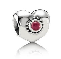 Pandora Rhodolite Treasured Hearts Charm