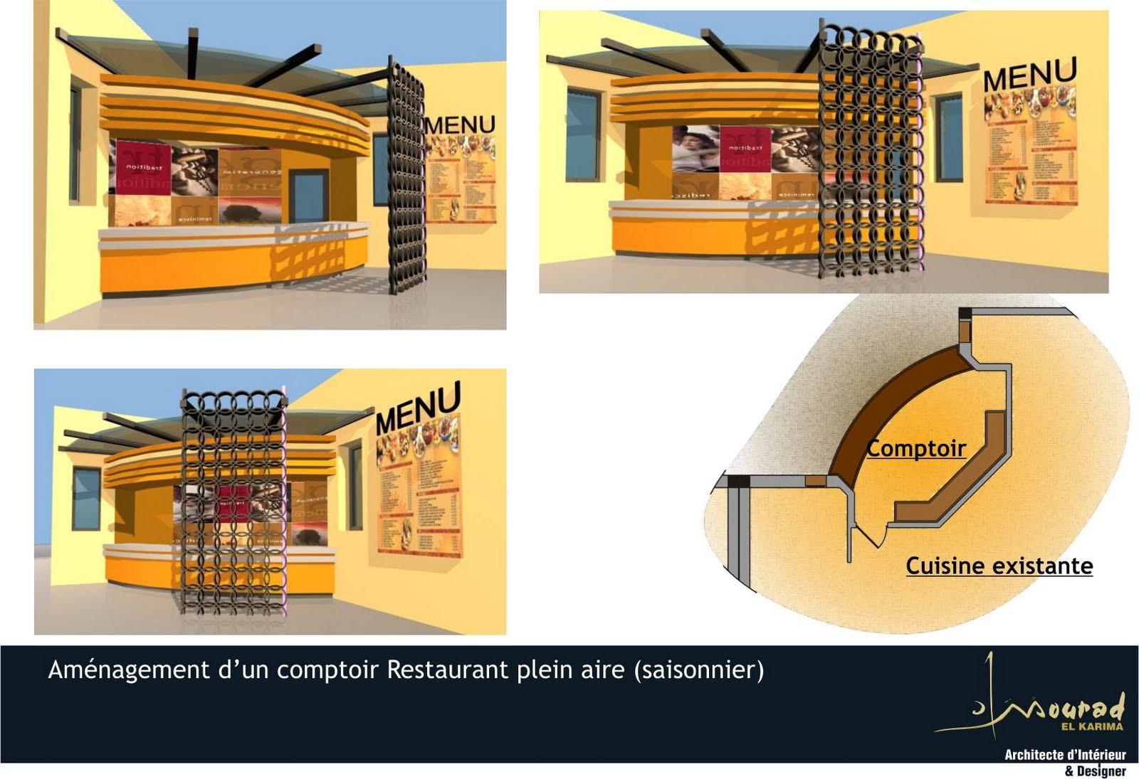 Mourad el karima architecte d 39 interieur designer for Amenagement cuisine restaurant