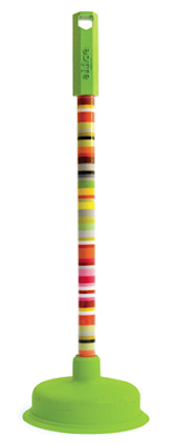 plunger with striped handle and green base