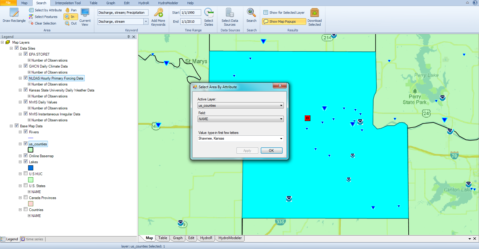 you can use any gis layer like the u s counties layer that is included with the hydrodesktop download to search for data