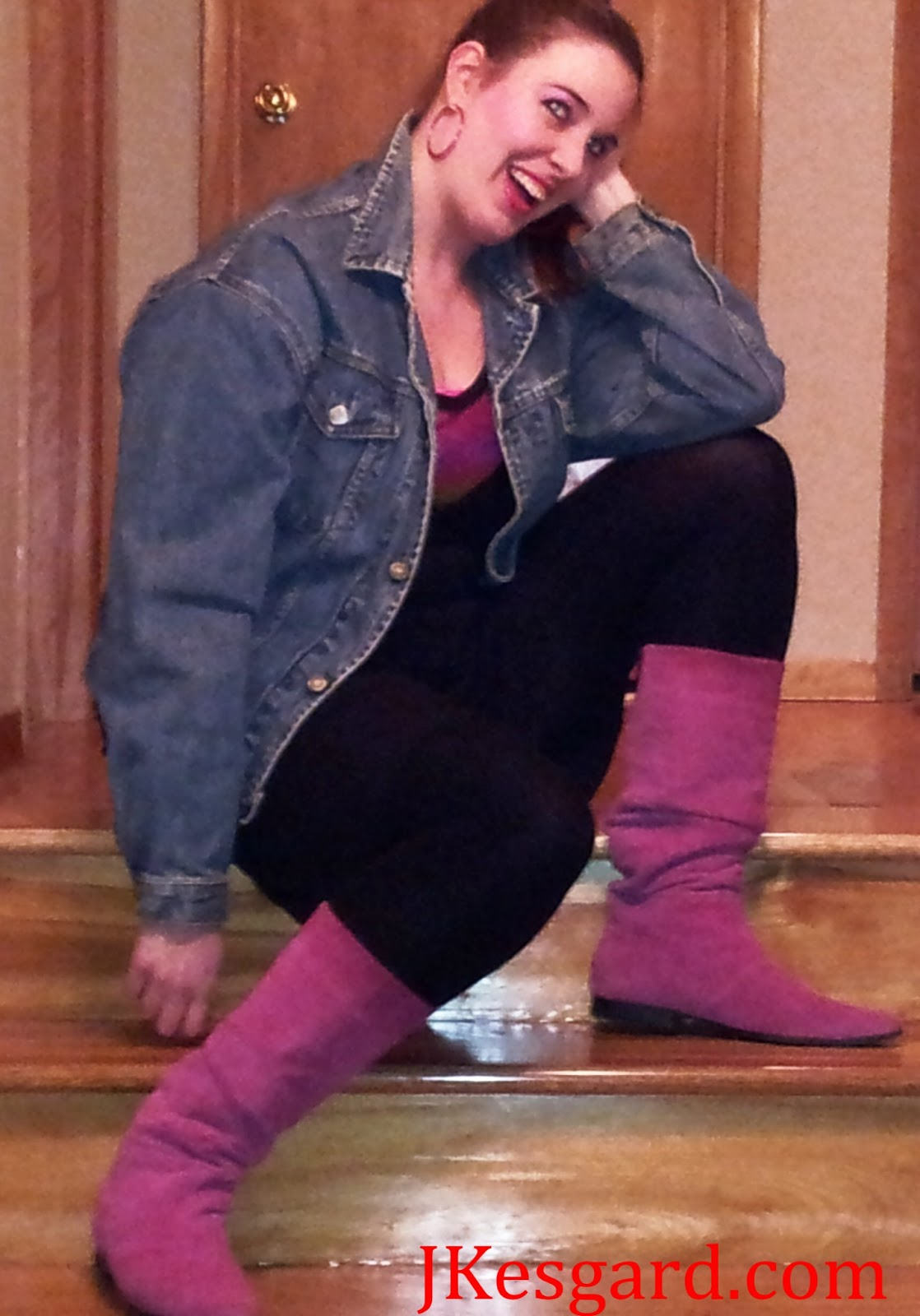 Me, on the staircase in horrible 80s attire