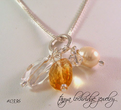 Citrine, Freshwater Pearl, Crystal Quartz Sterling Charm Necklace